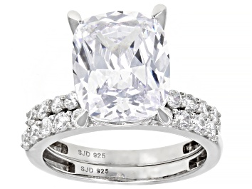 Picture of White Cubic Zirconia Rhodium Over Sterling Silver Ring With Band 10.63ctw