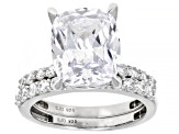 White Cubic Zirconia Rhodium Over Sterling Silver Ring With Band 10.63ctw