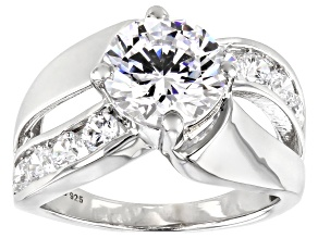 White Cubic Zirconia Rhodium Over Sterling Silver ring 6.28ctw