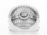 White Cubic Zirconia Rhodium Over Sterling Silver Ring 7.11ctw