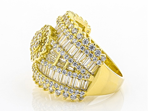 White Cubic Zirconia 18K Yellow Gold Over Sterling Silver Ring 7.11ctw