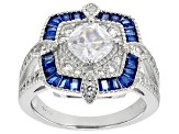 Lab Created Blue Spinel And White Cubic Zirconia Rhodium Over Sterling Silver Ring 3.52ctw