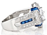 Lab Created Blue Spinel And White Cubic Zirconia Rhodium Over Silver Ring 3.39ctw