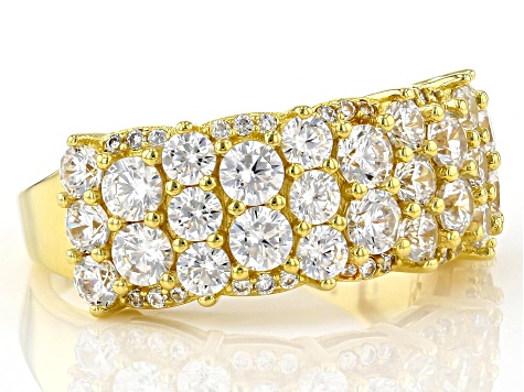 White Cubic Zirconia 18K Yellow Gold Over Sterling Silver Ring 4.32ctw