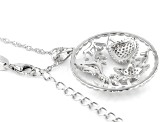 White Cubic Zirconia Rhodium Over Sterling Silver Nautical Pendant With Chain 0.66ctw (0.36ctw DEW)