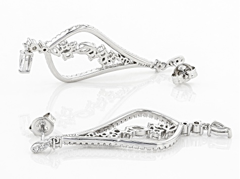 White Cubic Zirconia Rhodium Over Sterling Silver Earrings 3.80ctw
