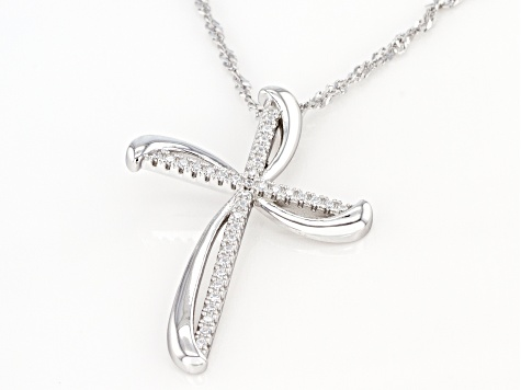 White Cubic Zirconia Rhodium Over Sterling Silver Cross Pendant With Chain 0.34ctw