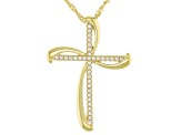 White Cubic Zirconia 18K Yellow Gold Over Sterling Silver Cross Pendant With Chain 0.34ctw