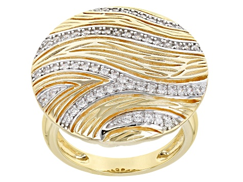 White Cubic Zirconia 18k Yellow Gold Over Sterling Silver Ring 0.66ctw