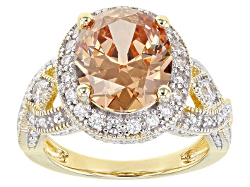 Picture of Champagne And White Cubic Zirconia 18K Yellow Gold Over Sterling Silver Ring 9.25ctw