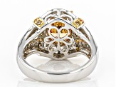 Champagne And White Cubic Zirconia Rhodium Over Sterling Silver Ring 5.59ctw