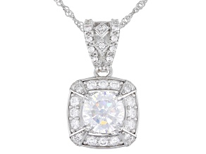 White Cubic Zirconia Rhodium Over Sterling Silver Pendant With Chain 4.55ctw