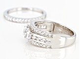 White Cubic Zirconia Rhodium Over Sterling Silver Ring With Band 3.68ctw