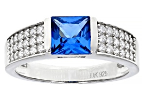 Lab Blue Spinel And White Cubic Zirconia Rhodium Over Sterling Silver Ring 2.48ctw