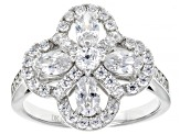 White Cubic Zirconia Rhodium Over Sterling Silver Flower Ring 2.70ctw