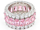 Pink And White Cubic Zirconia Rhodium Over Sterling Silver Ring 21.53ctw