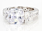 White Cubic Zirconia Rhodium Over Sterling Silver Ring 13.37ctw
