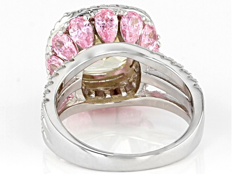 White, Yellow, and Pink Cubic Zirconia Rhodium Over Sterling Silver Ring 12.85ctw