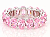Pink Cubic Zirconia Rhodium Over Sterling Silver Eternity Band Ring 13.28ctw