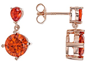 Orange Cubic Zirconia 18k Rose Gold Over Sterling Silver Earrings 7.91ctw