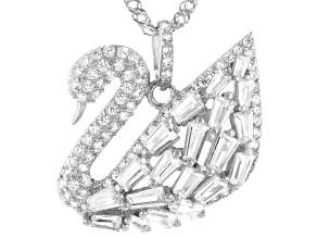 White Cubic Zirconia Rhodium Over Sterling Silver Swan Pendant With Chain 2.79ctw (1.76ctw DEW)