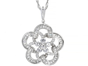 White Cubic Zirconia Rhodium Over Sterling Silver Flower Pendant With Chain 3.76ctw