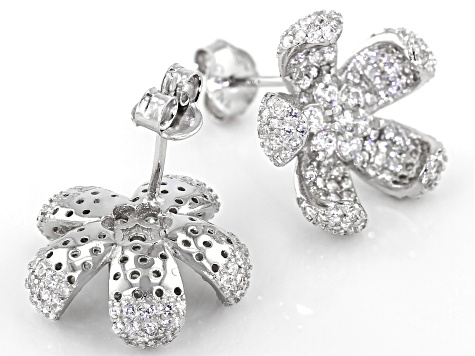 White Cubic Zirconia Rhodium Over Sterling Silver Flower Earrings 2.80ctw (1.89ctw DEW)