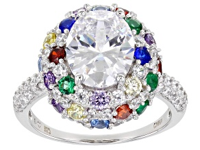 White,Yellow,Purple,Red Cubic Zirconia,Lab Created Blue Spinel,Green Nano Rhodium Over Silver Ring