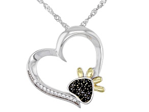 Black And White Cubic Zirconia Rhodium Over Sterling Silver Pendant With Chain 0.24ctw
