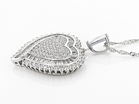 White Cubic Zirconia Rhodium Over Sterling Silver Heart Pendant With Chain 3.62ctw