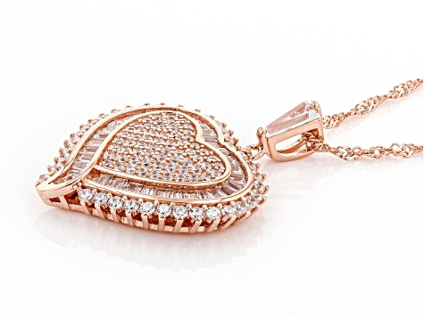White Cubic Zirconia 18K Rose Gold Over Sterling Silver Heart Pendant With Chain 3.62ctw