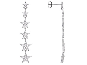 White Cubic Zirconia Rhodium Over Sterling Silver Star Earrings 1.63ctw