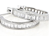 White Cubic Zirconia Rhodium Over Sterling Silver Hoop Earrings 3.90ctw