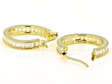 White Cubic Zirconia 18K Yellow Gold Over Sterling Silver Hoop Earrings 3.90ctw