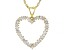 White Cubic Zirconia 18K Yellow Gold Over Sterling Silver Heart Pendant With Chain 1.65ctw
