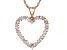 White Cubic Zirconia 18K Rose Gold Over Sterling Silver Heart Pendant With Chain 1.65ctw
