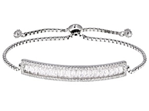 White Cubic Zirconia Rhodium Over Sterling Silver Adjustable Slide Bracelet 3.46ctw