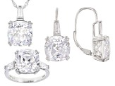 White Cubic Zirconia Rhodium Over Sterling Silver Jewelry Set 34.42ctw