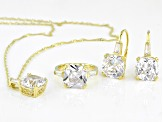 White Cubic Zirconia 18K Yellow Gold Over Sterling Silver Jewelry Set 34.42ctw
