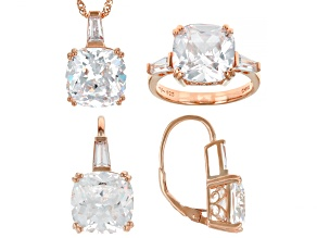 White Cubic Zirconia 18K Rose Gold Over Sterling Silver Jewelry Set 34.42ctw