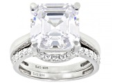 White Cubic Zirconia Rhodium Over Sterling Silver Asscher Cut Ring With Band 11.23ctw