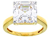 White Cubic Zirconia 18K Yellow Gold Over Sterling Silver Asscher Cut Ring With Band 11.23ctw