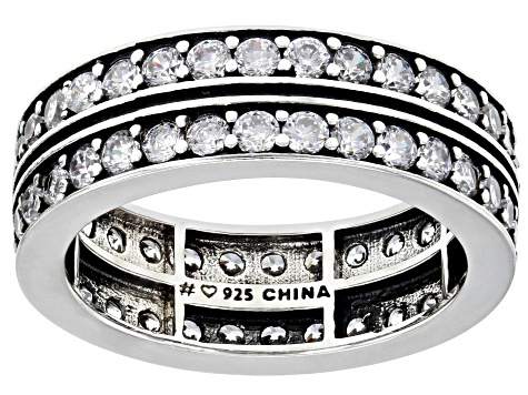 White Cubic Zirconia Rhodium Over Sterling Silver Bands 3.84ctw (2.1ctw DEW)