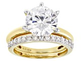White Cubic Zirconia 18K Yellow Gold Over Sterling Silver Solitaire Ring With Band 7.03ctw