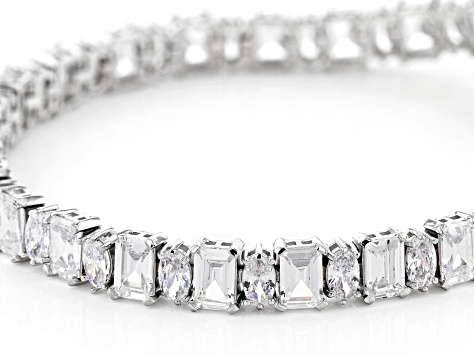 White Cubic Zirconia Rhodium Over Sterling Silver Bracelet 31.56ctw