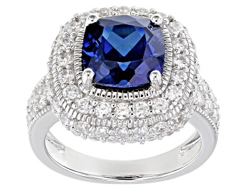 Picture of Lab Created Blue Sapphire And White Cubic Zirconia Rhodium Sterling Silver Ring 6.65ctw