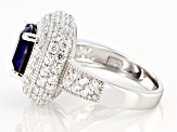 Lab Created Blue Sapphire And White Cubic Zirconia Rhodium Sterling Silver Ring 6.65ctw