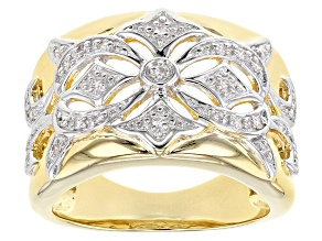 White Cubic Zirconia 18K Yellow Gold Over Sterling Silver Ring 0.31ctw