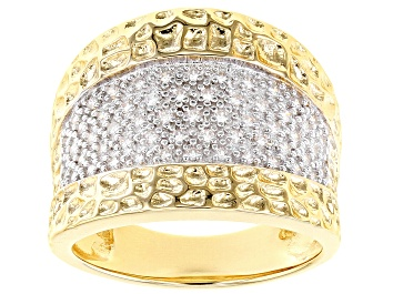 Picture of White Cubic Zirconia 18K Yellow Gold Over Sterling Silver Ring 0.62ctw