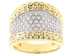 White Cubic Zirconia 18K Yellow Gold Over Sterling Silver Ring 0.62ctw
